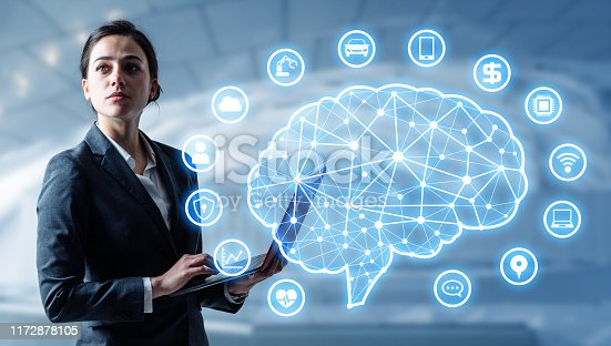 851956284istockphoto AI (Artificial Intelligence) concept. Electronic circuit. Communication network. 1172878105
