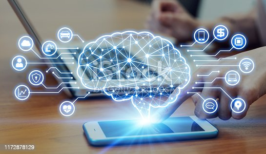 istock AI (Artificial Intelligence) concept. Electronic circuit. Communication network. 1172878129