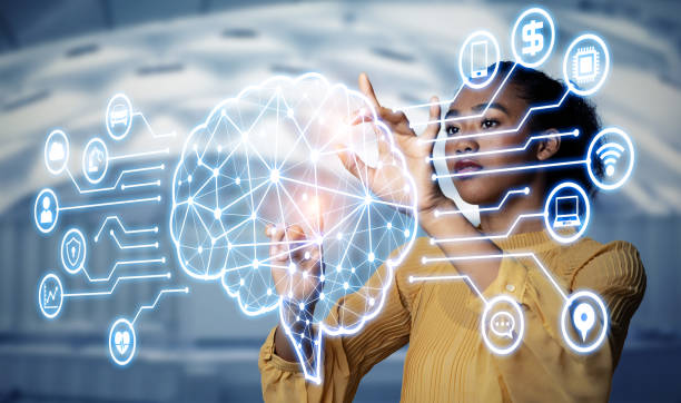 AI (Artificial Intelligence) concept. Electronic circuit. Communication network. stock photo
