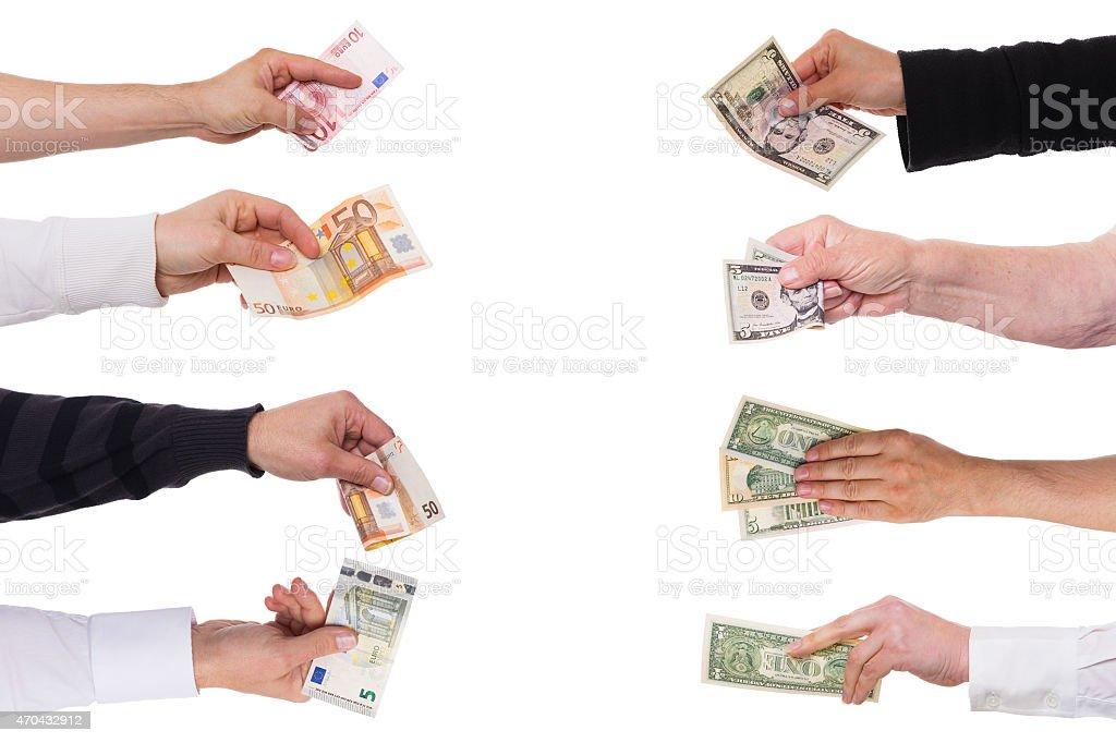 concept euro against dollar stock photo