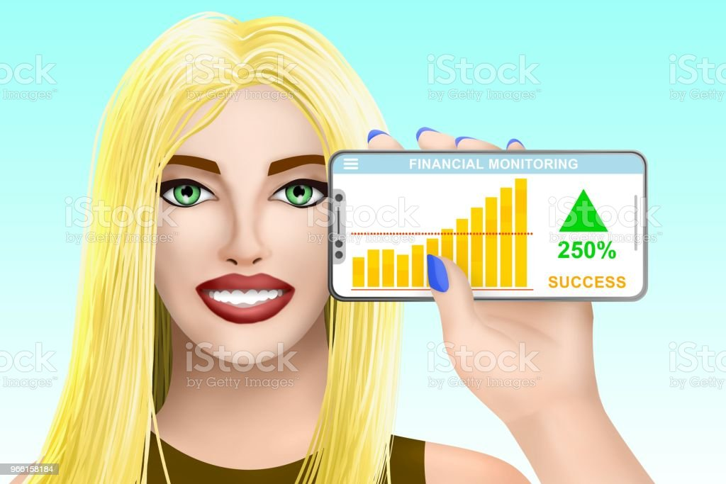 Concept financial success. Drawn pretty girl on bright background. Illustration - Royalty-free Beleza Foto de stock