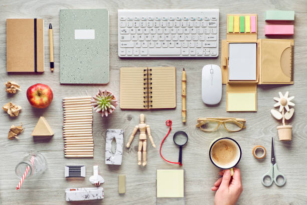 Concept flat lay with modern office supplies from eco friendly sustainable materials. Flat lay on office table without single use plastic to reduce waste at workplace. stock photo