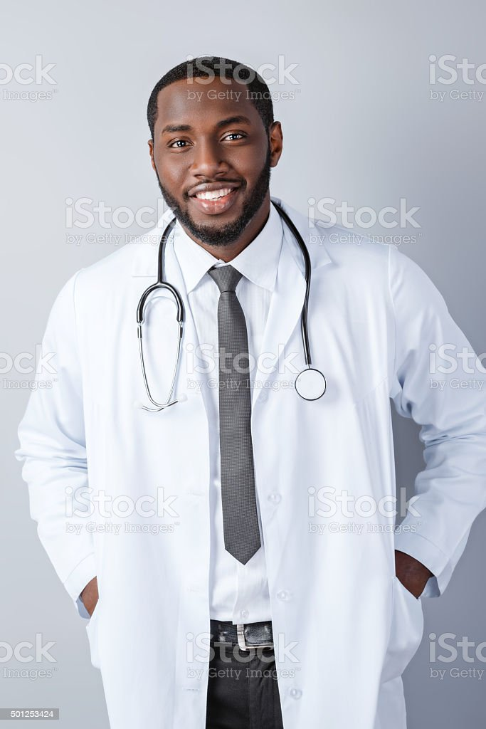 Concept for afro american doctor stock photo