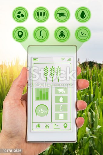 istock Concept for agritech farmer accessing agricultural app 1017810676