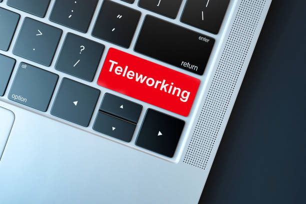 Concept for any telework or telecommuting illustration, free lance workers, workers at home stock photo