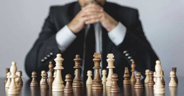 Concept for Challenge and Diversity with Chess Pieces stock photo