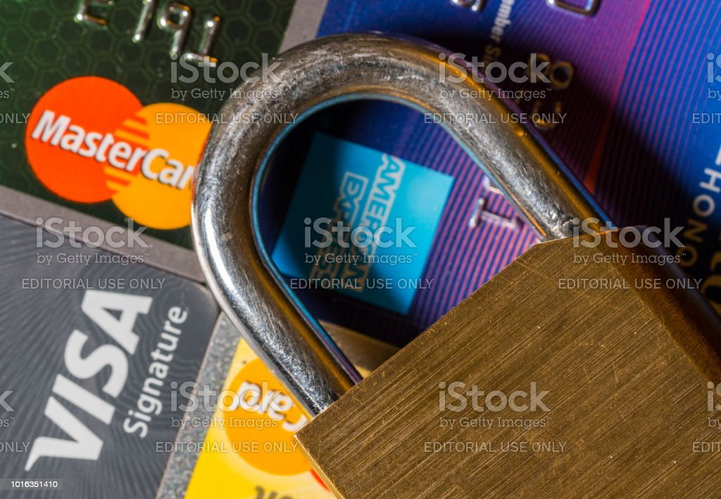 Concept for credit lock or freeze using padlock stock photo