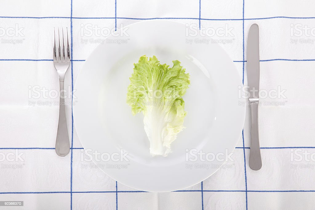 Concept for diet with lettuce leaf on a dish royalty-free stock photo