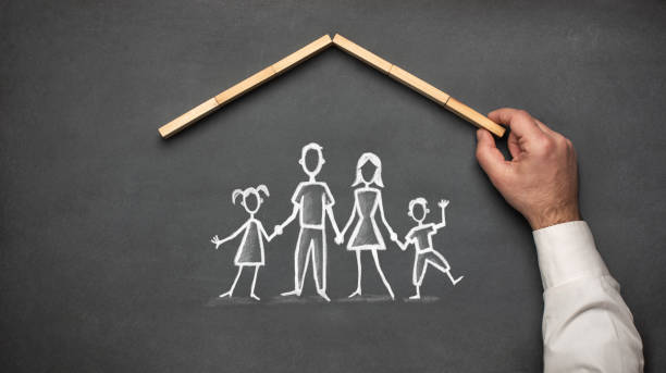Concept For Family Insurance with Hand Drawn Chalk Illustrations On Blackboard stock photo
