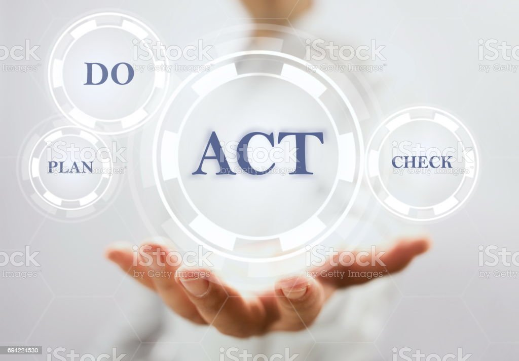 Concept For Plan Do Check Act Circle On Virtual Screen stock photo