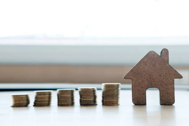 Concept for property ladder, mortgage and real estate investment . stock photo