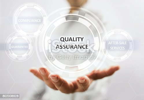 700303384 istock photo Concept For Quality Assurance On Virtual Screen 802008528