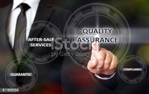 700303384 istock photo Concept For Quality Assurance On Virtual Screen 811833234