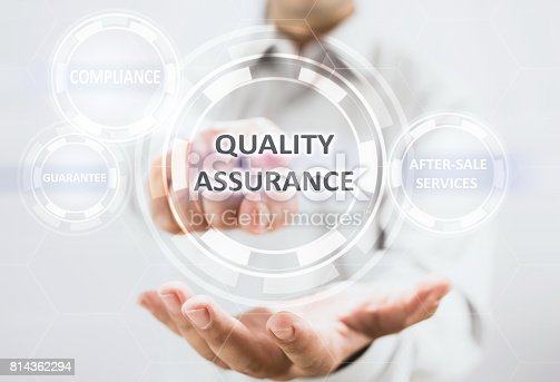 700303384 istock photo Concept For Quality Assurance On Virtual Screen 814362294