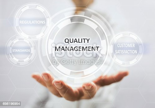 700303384 istock photo Concept For Quality Management On Virtual Screen 698196954