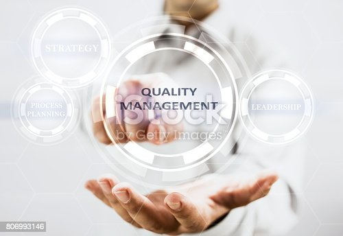 700303384 istock photo Concept For Quality Management On Virtual Screen 806993146