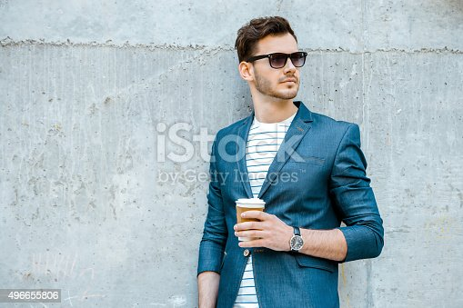 istock Concept for stylish young man outdoors 496655806