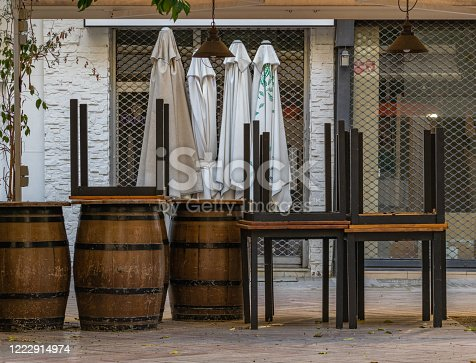 1213432934 istock photo Concept for tourism crisis, economic crisis, restaurant closed, no people during covid shut down. 1222914974