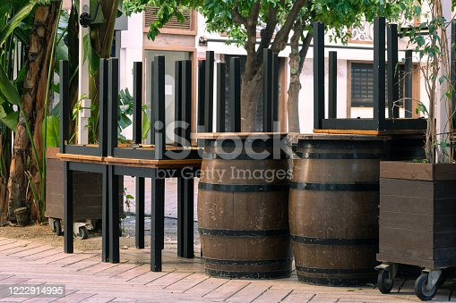 1213432934 istock photo Concept for tourism crisis, economic crisis, restaurant closed, no people during covid shut down. 1222914995