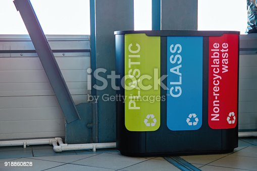 istock Concept: garbage collection system and recycling of solid household waste. Modern bins to collect plastic, glass and non-recyclable waste. 918860828