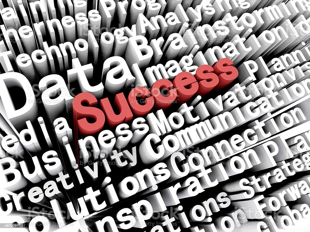 Concept graphic depicting business and 'success' written in red stock photo