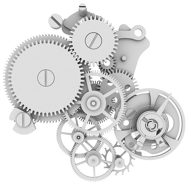 Concept gray illustration of a watch mechanism Concept watch mechanism. Isolated render on white background gearshift stock pictures, royalty-free photos & images