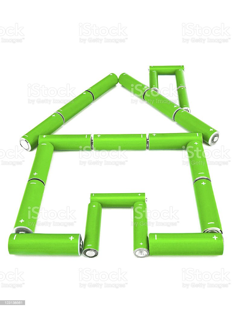 Concept green battery house royalty-free stock photo
