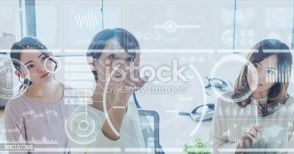 1154261912 istock photo GUI(Graphical User Interface) concept. Group of businesswoman. 990107066