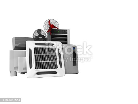 177118473 istock photo concept group of ventilation electrical appliances for cooling rooms and offices 3d renderer on white background no shadow 1199781551