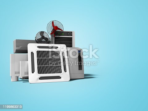 177118473 istock photo concept group of ventilation electrical appliances for cooling rooms and offices 3d renderer on blue background with shadow 1199863313