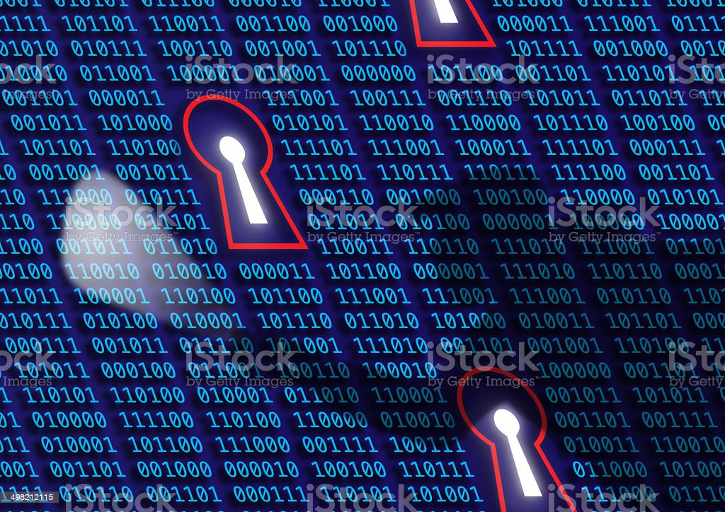 concept: hacker, cyber crime and digital epionage stock photo