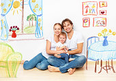 Concept family: Happy young family in the new apartment dream and plan interior