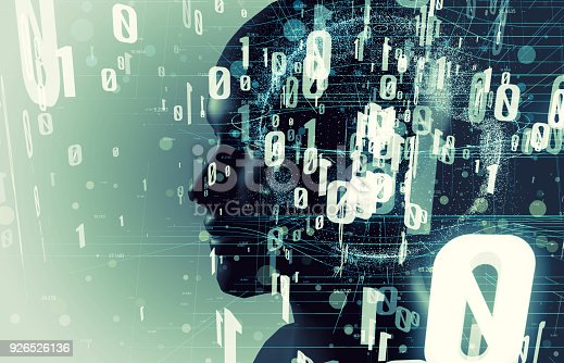 istock AI(Artificial Intelligence) concept. human head and digital proccessing. 926526136