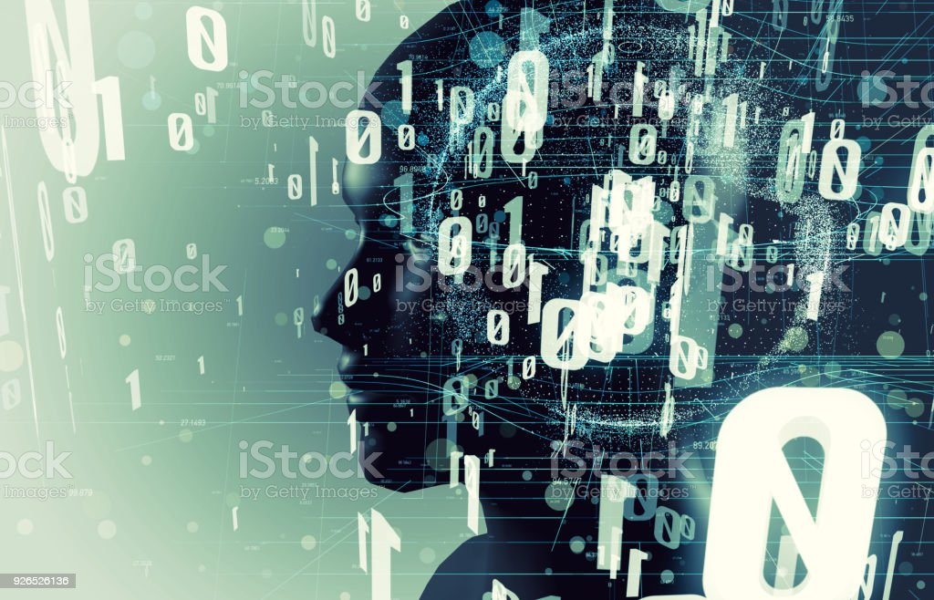 AI(Artificial Intelligence) concept. human head and digital proccessing. stock photo