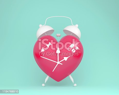 917079152istockphoto Concept idea about of health and medical insurance, Creative idea layout red heart alarm clock with icon healthcare medical on pastel blue background. 1154769310
