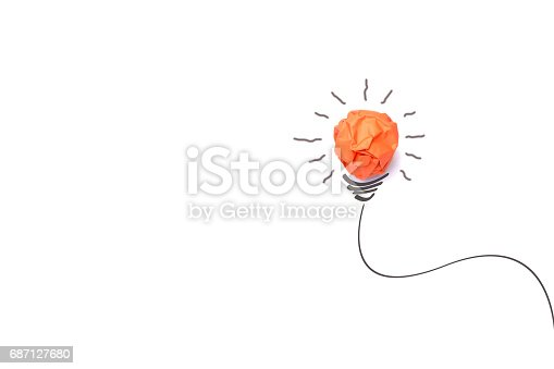 istock Concept idea with paper light bulb isolate on white background 687127680