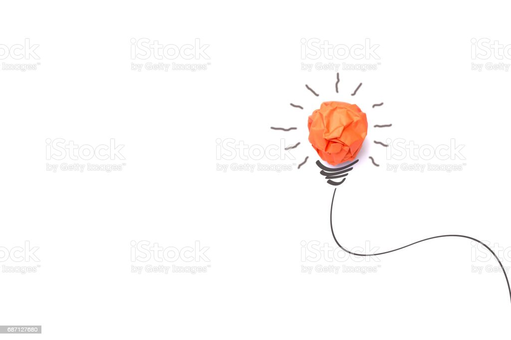 Concept idea with paper light bulb isolate on white background stock photo