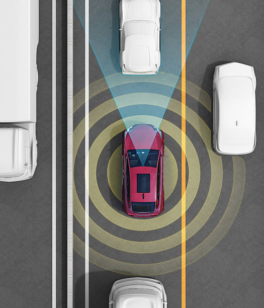 Concept illustration for auto braking, lane keeping functions stock photo
