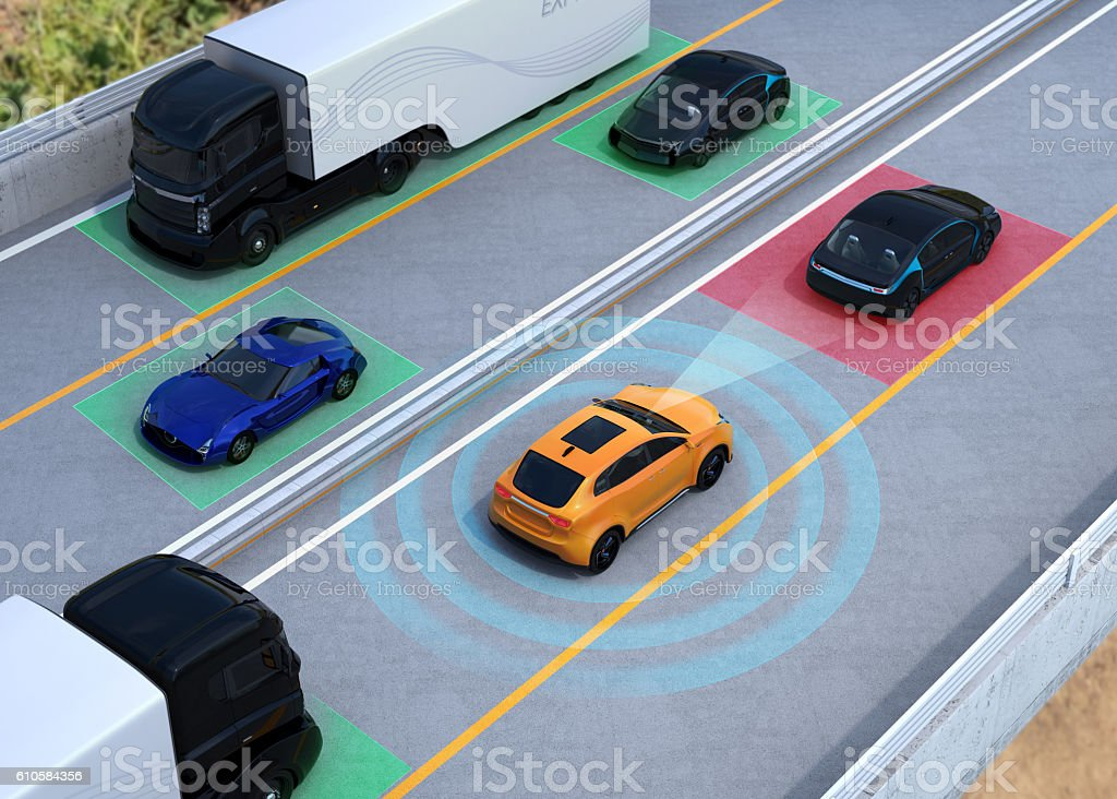 Concept illustration for auto braking, lane keeping functions – Foto