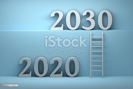 istock Concept illustration of future with 2020 and 2030 year numbers 1174686486