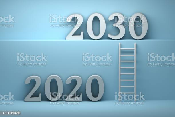 Concept illustration of future with 2020 and 2030 year numbers