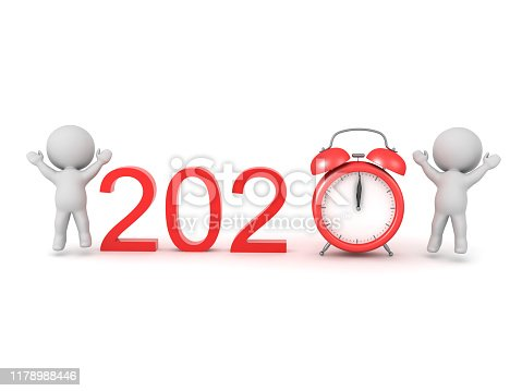 3D Concept image about celebrating the new year 2020. 3D Rendering isolated on white.