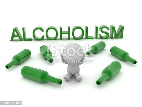istock 3D Concept image depicting alcoholism 1184187104