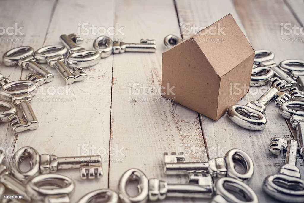 Concept image for new home with shiny house keys stock photo