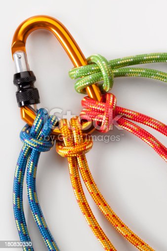 Four knotted ropes to a carabiner.Some similar pictures from my portfolio:
