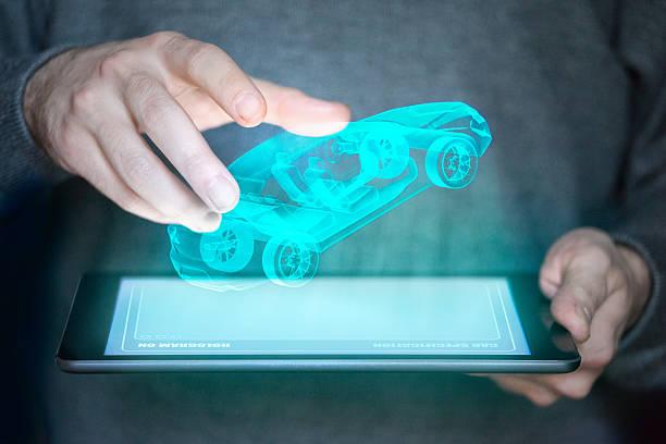 Konzept-Bild von einem tablet, die Projekte ein Auto – Foto