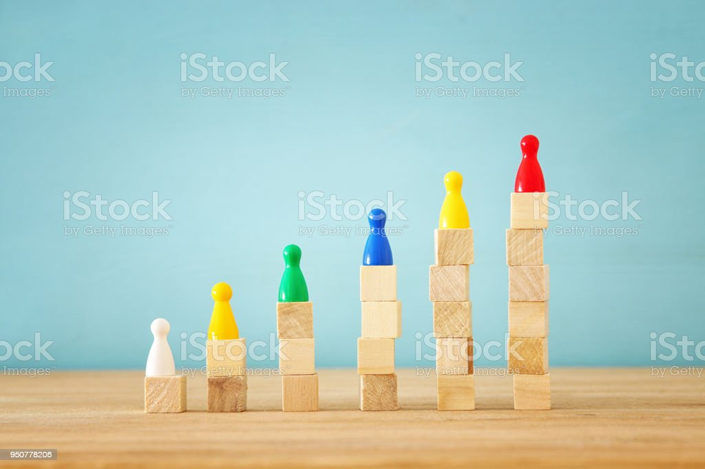 concept image of hand putting figure on top of chart, human resources and management concept. stock photo