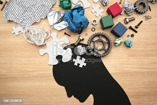 istock Concept image of mental exhaustion and brain fatigue. Concentration problems. 1061203828