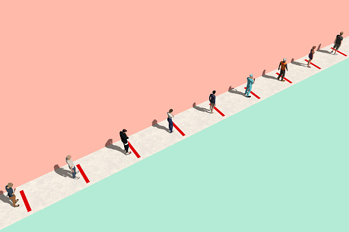 Concept image of people waiting in line during Coronavirus Covid-19 pandemic. They are standing in line, two meters or six feet from each one. Red signs to keep social distancing. 3D rendering image.