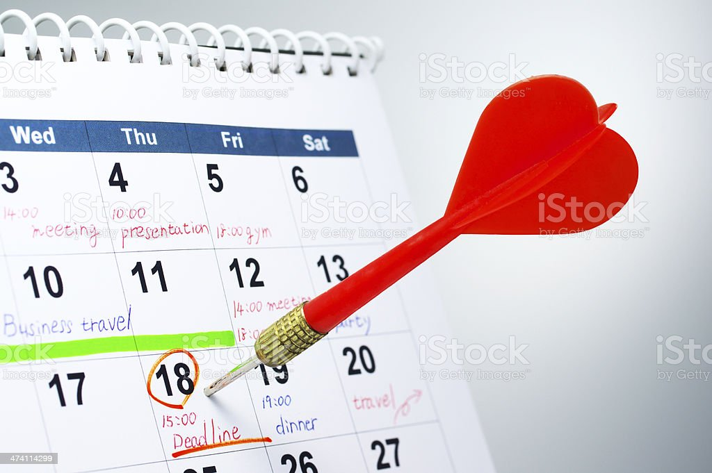Concept image of setting the deadline. royalty-free stock photo